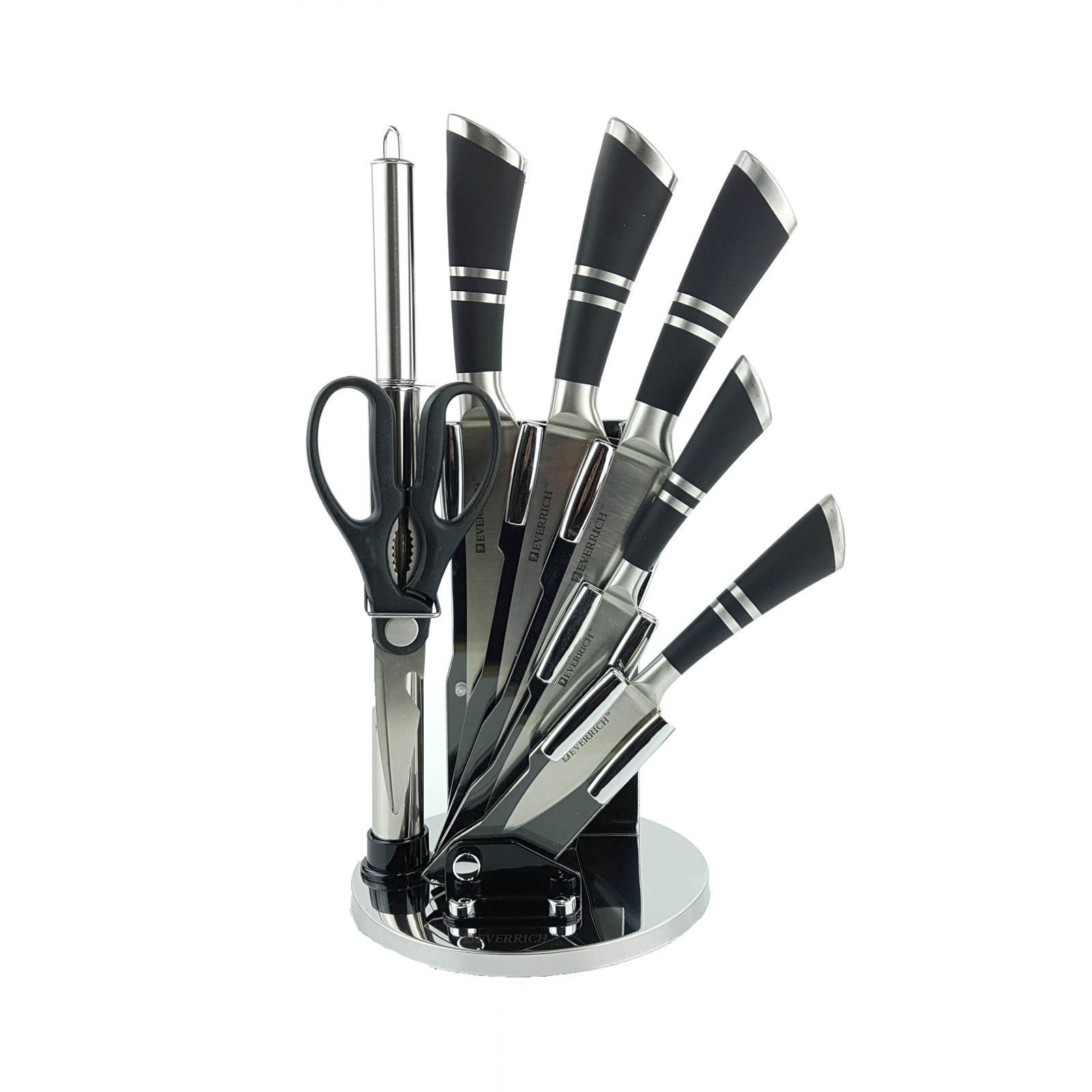 Stainless Steel Kitchen Knife Set with Stand
