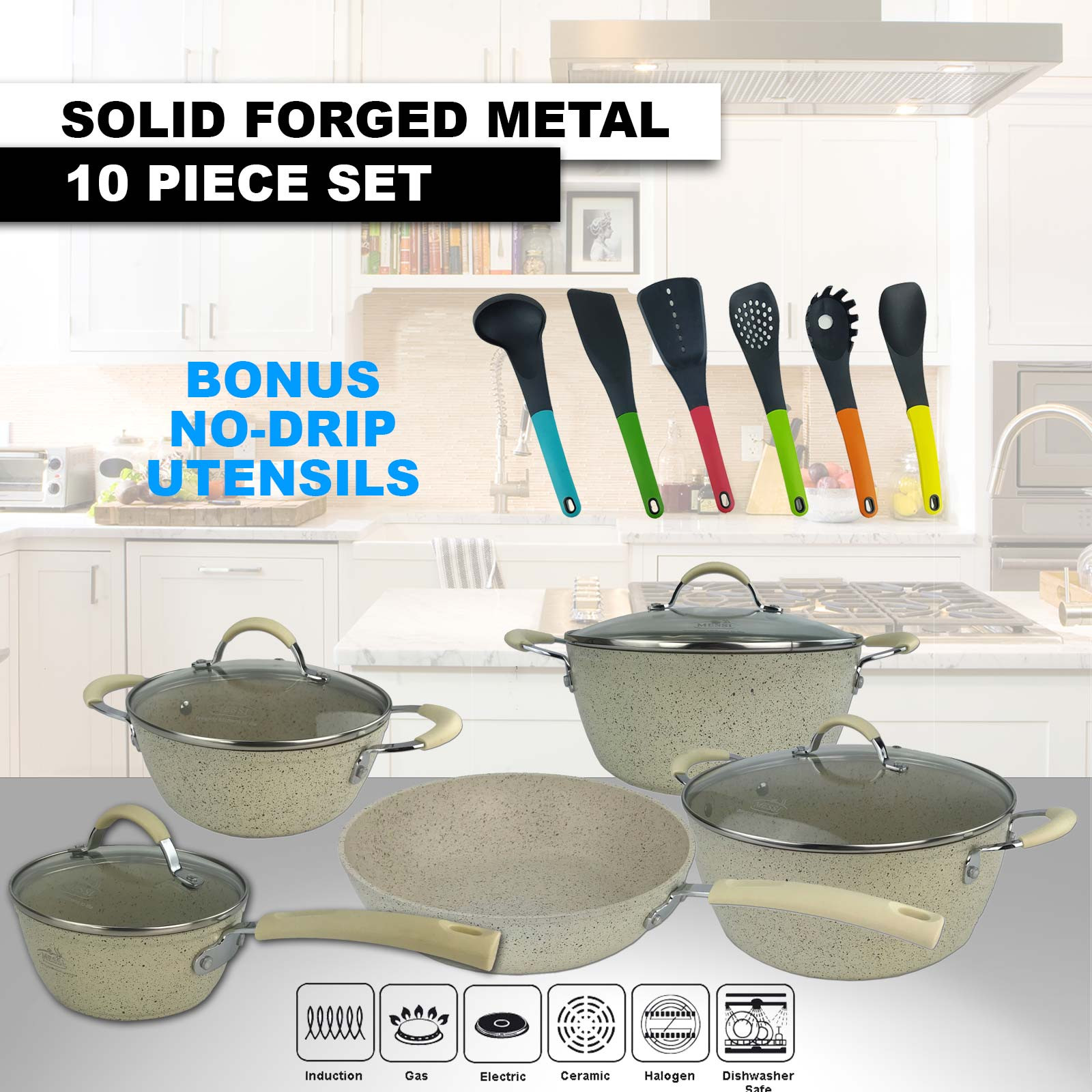 Messi 10 Piece Forged Metal Cookware Set Beige