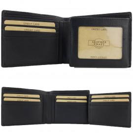 Black Genuine Cowhide Leather Wallet