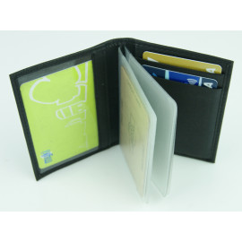 Black Leather Card Holder w/Plastic Insert
