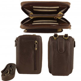Brown Full Grain Leather Travel Pouch