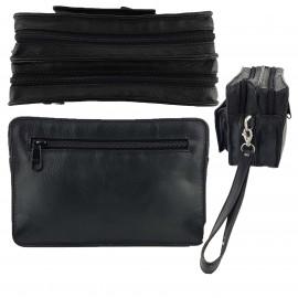 Black Genuine Leather Multi Function Men's Bag