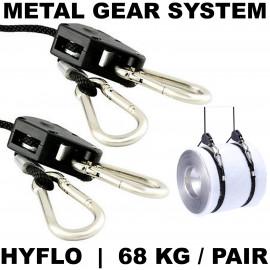 HYFLO 68kg Adjustable Rope Ratchet Heavy Duty Grow Light Hanger Metal Gearing