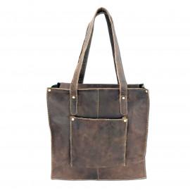 Leather Craft Genuine Leather Tote Shoulder Bag-CR Crackle