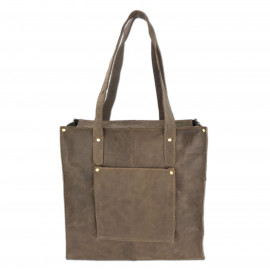 Leather Craft Genuine Leather Tote Shoulder Bag-MY Mayo