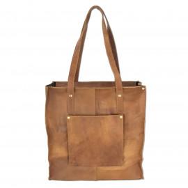 Leather Craft Genuine Leather Tote Shoulder Bag-VL Vintage