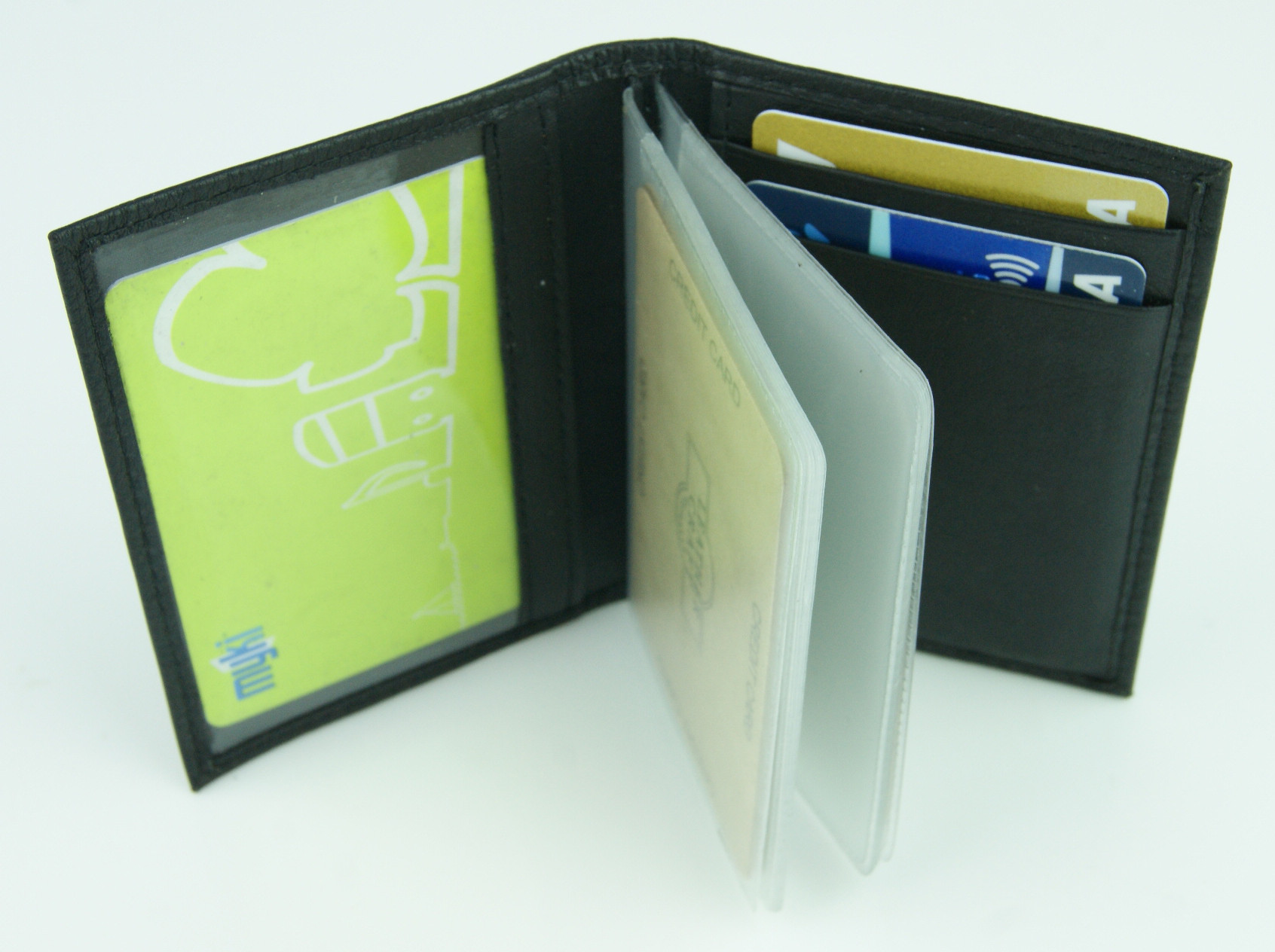 Black Leather Card Holder w/Plastic Insert & RFID Protection