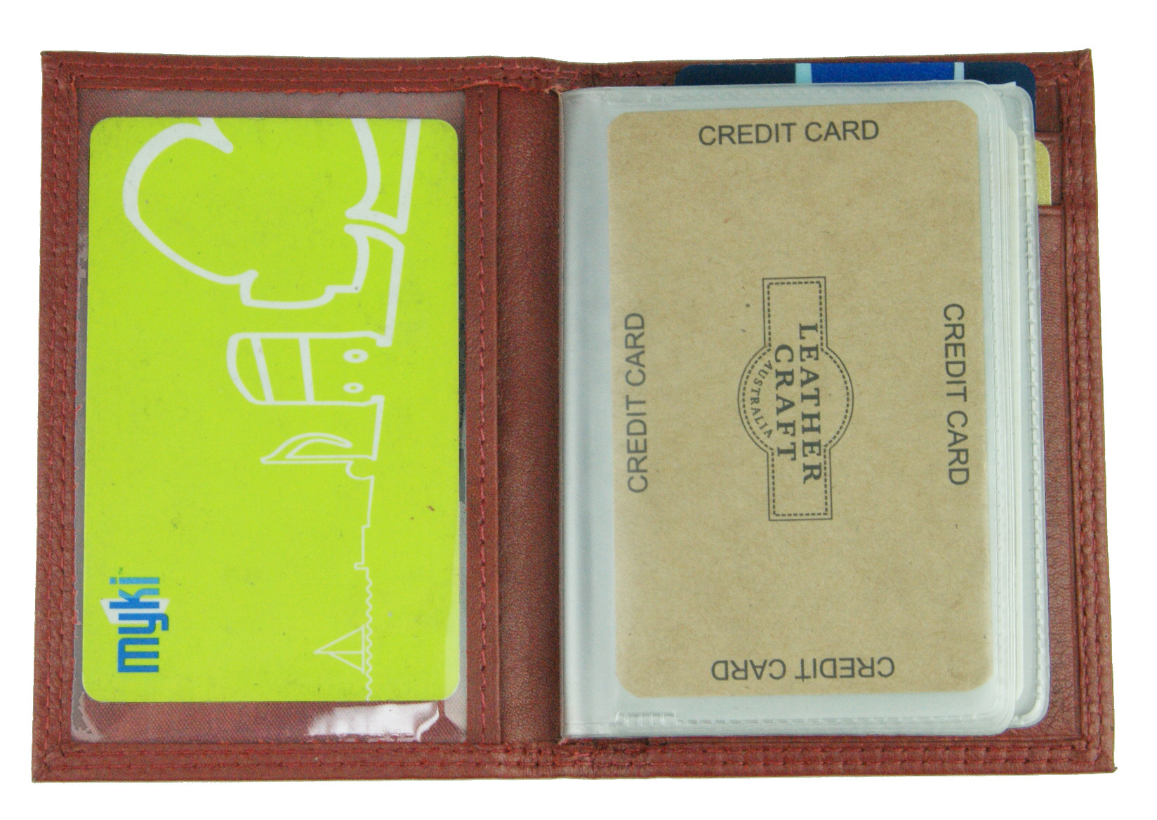 Red Leather Card Holder w/Plastic Insert