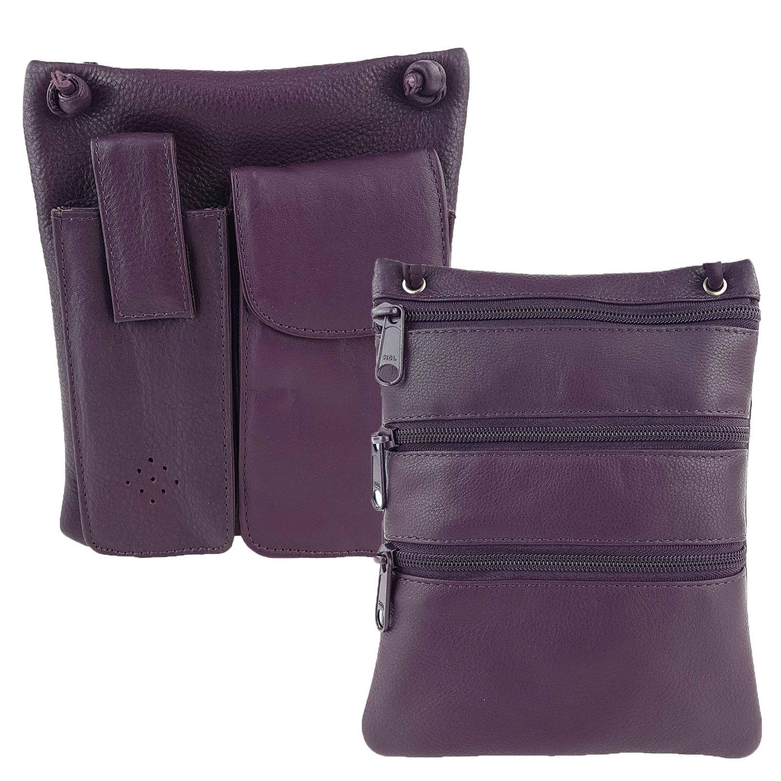 Purple Leather Cross-Body Sling