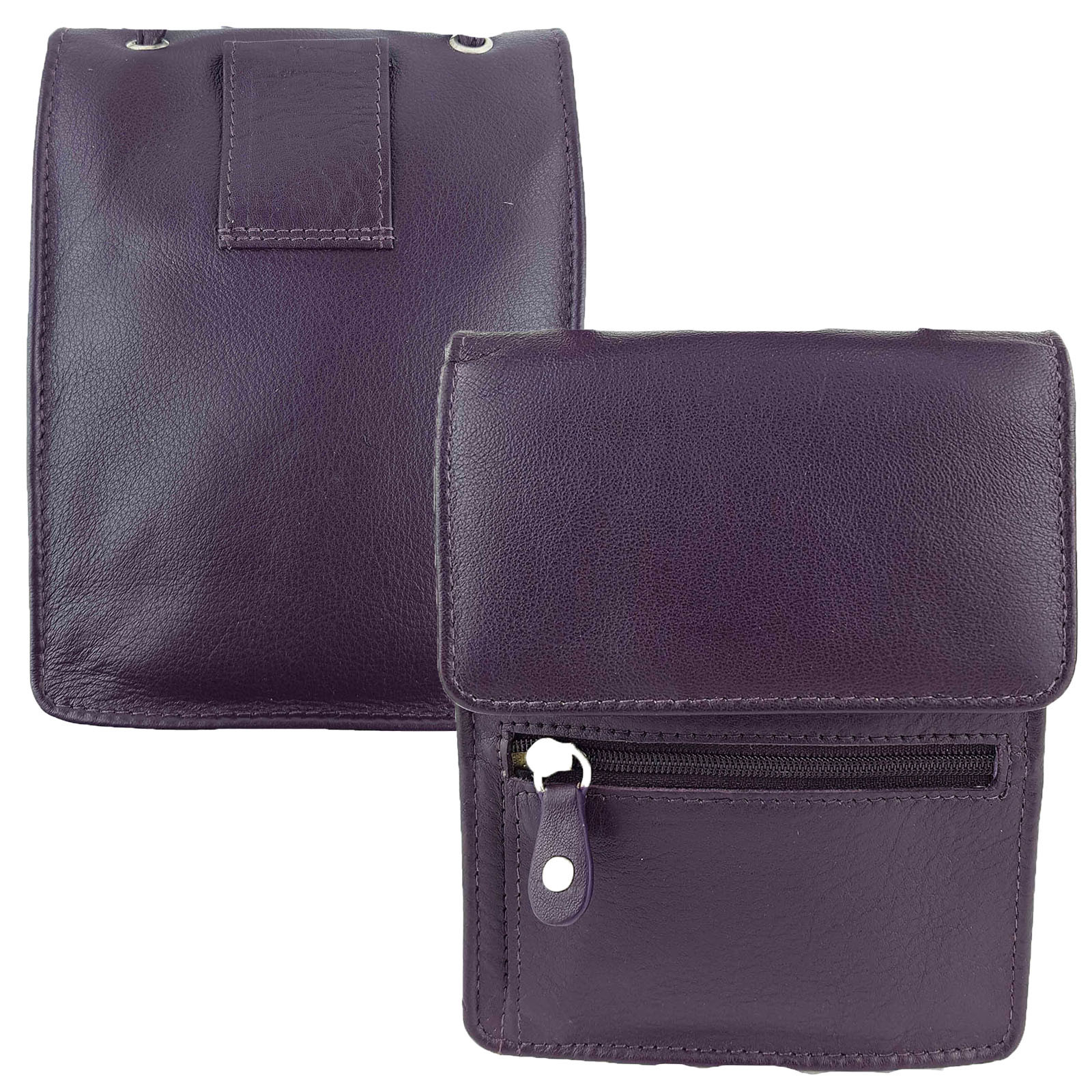 Purple Full Grain Leather Travel Pouch