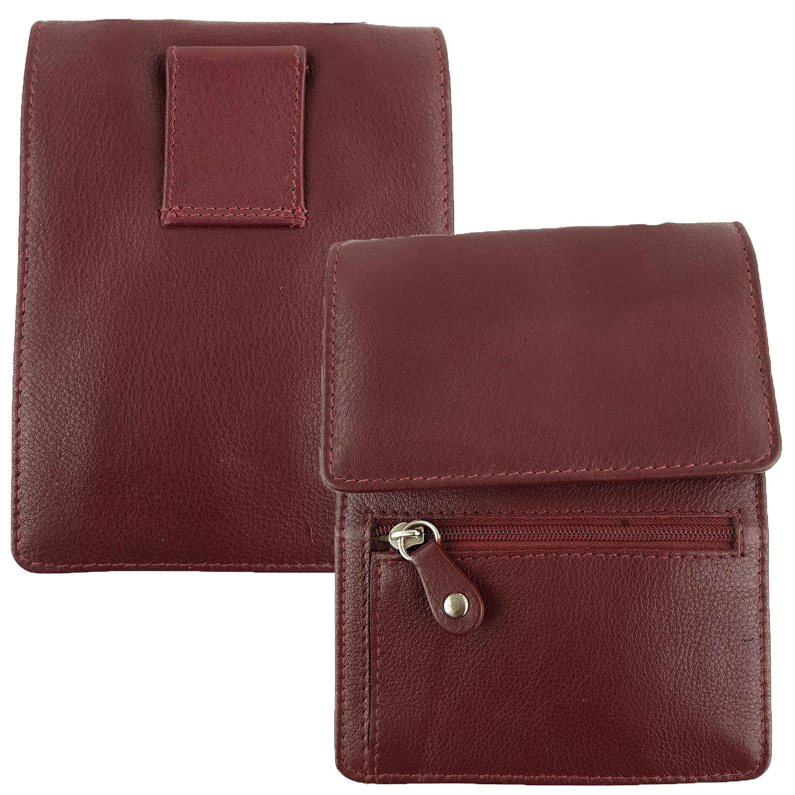 Red Full Grain Leather Travel Pouch