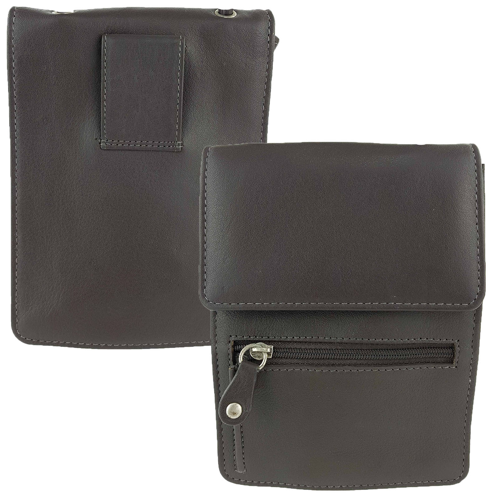 Stone Full Grain Leather Travel Pouch