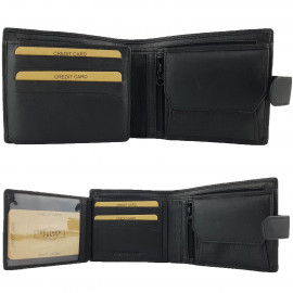 Black Genuine Cowhide Leather Wallet