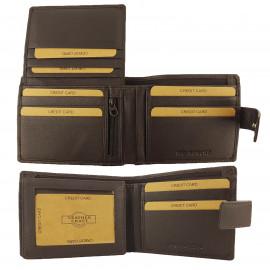 BROWN RFID Protected Genuine Leather Wallet