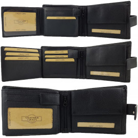 BLACK RFID Protected Genuine Leather Wallet