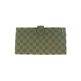 Beige Chequered Leather Travel Wallet