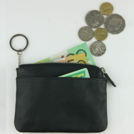 Cowhide Leather Zipped Coin Case with Key Chain
