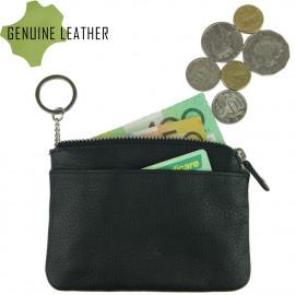Leather Zipped Key Holder-Black
