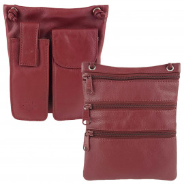Red Leather Cross-Body Sling
