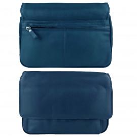 Navy Genuine Leather Shoulder Bag