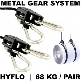 HYFLO 68kg Adjustable Rope Ratchet Heavy Duty Grow Light Hanger Metal Gearing