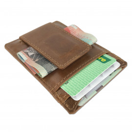 Slimline Leather Card Wallet With Magnetic Money Clip