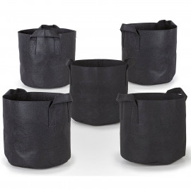5 pack Fabric Plant Pots Grow Bags w/ Handles Aeration Pots ALL SIZES!